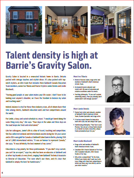 Talent density is high at barrie s gravity salon for Gravity salon